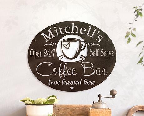 Personalized Coffee Bar Sign ~ Custom Metal Coffee Sign