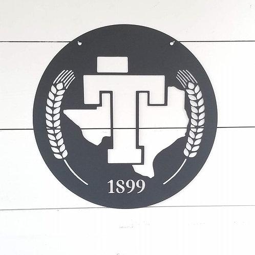 Tarleton State University Texas T Wheat Metal Sign