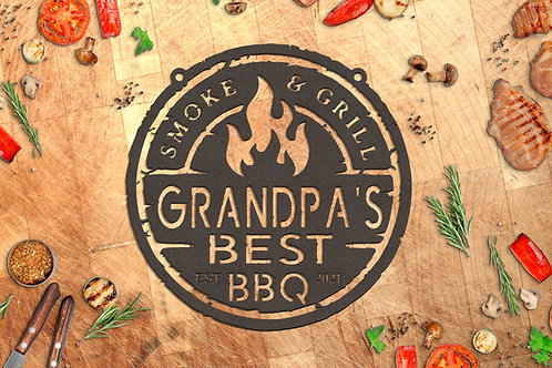 Your Name Custom Metal BBQ Sign, Best Barbeque Personalized Gift