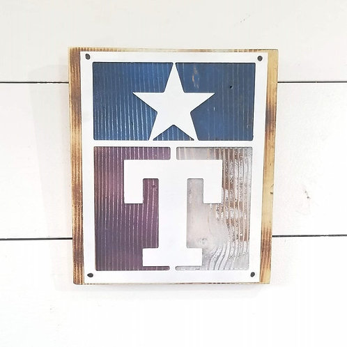 Tarleton State University Metal Texas Flag On Wooden Board