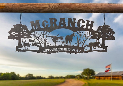 Custom Steel Ranch Sign, Cattle, Horse, Deer and Tractor Sign