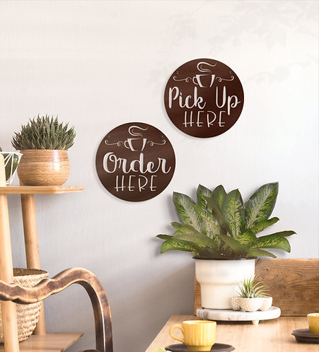 Order Here and Pick Up Here Signs