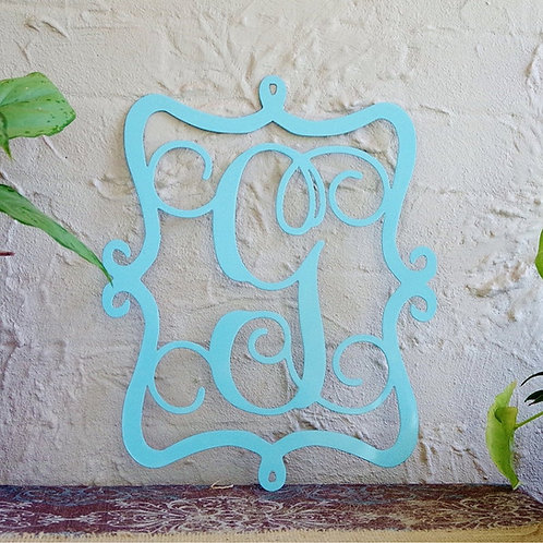 Metal Monogram Framed Initial Door Letter Sign Hanger