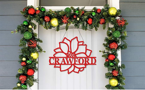 Winter Poinsettia Metal Name | Framed Family Name | Custom Name Door Sign
