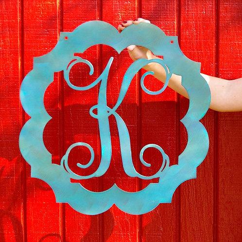 Custom Metal Monogram Framed Initial Door Letter Sign Hanger
