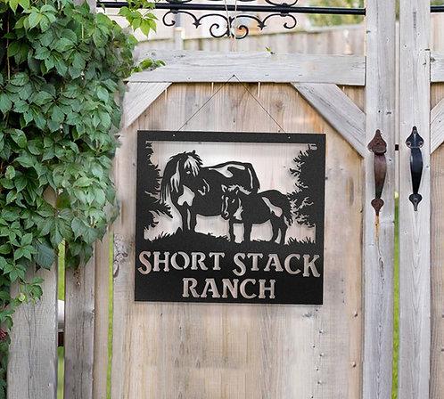 Miniature Horse Metal Farm Sign