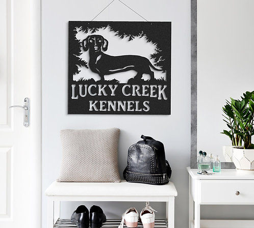 Dachshund Custom Indoor or Outdoor Metal Dog Sign Doxin Dog Sign