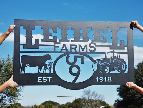 Custom Farm or Ranch Brand Sign with Tractor and Cows