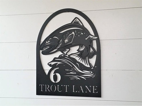 Trout Fishing Address Sign
