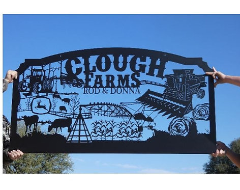 Family Metal Farm Sign, Personalized Farming Sign,Large Row Crop Sign