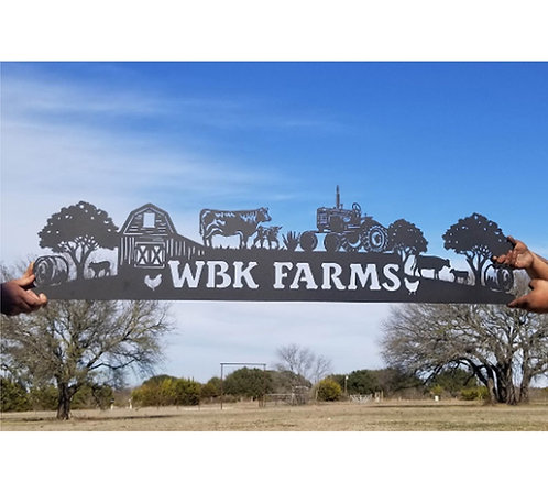 Farming Header Steel Sign Farm Animals, Cows, Horses, Chickens LMW-16-78
