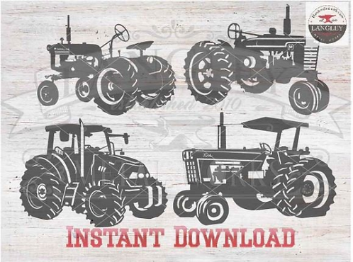 Tractor Cut File Vector Instant Download Clip Art Silhouette