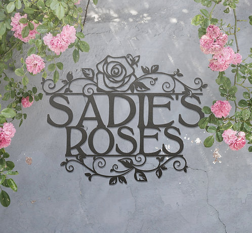 Personalized Rose Sign ~ Custom Metal Hanging Garden Sign