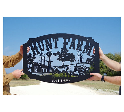 Family Name Custom Metal Farm Sign, Personalized Farming Sign LMW-16-15