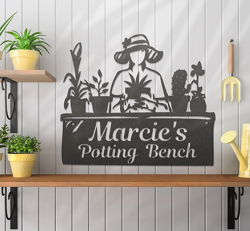 Personalized Metal Gardeners Potting Bench Sign