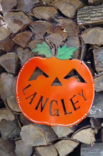 PAINTED Personalized metal pumpkin door hanger