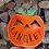 Thumbnail: PAINTED Personalized metal pumpkin door hanger