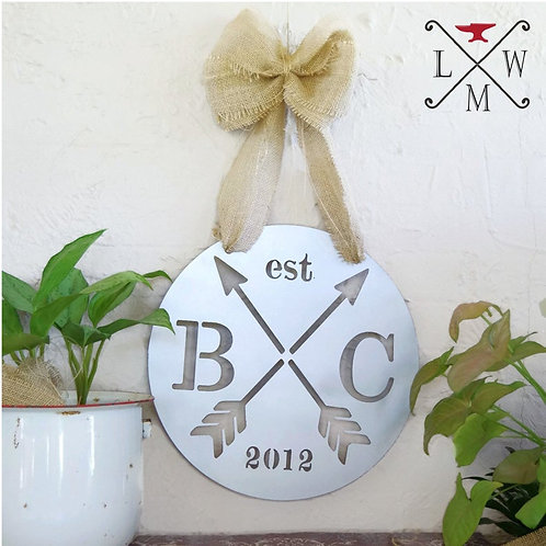 Metal Initial Anniversary Wedding Sign and Valentines Gift