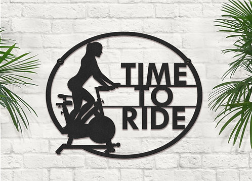 Time to Ride Metal Spin Bike Sign