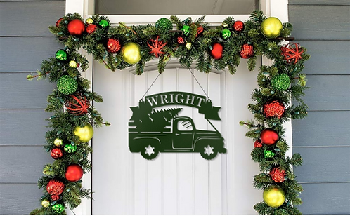 Christmas Truck Tree Personalized Metal Sign