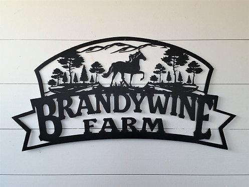 Custom Mountain, Horse and Tree Farm Sign