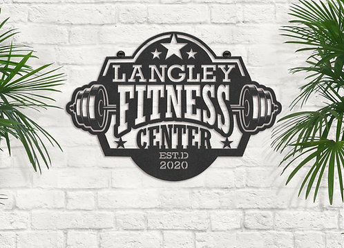 Personalized Your Name Metal Fitness Center Sign, Custom Metal Gym Sign