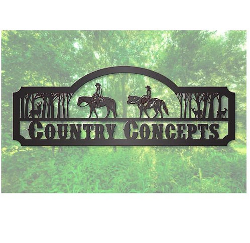 Horseback Riders Steel Sign with Trees and Deer LMW-16-39