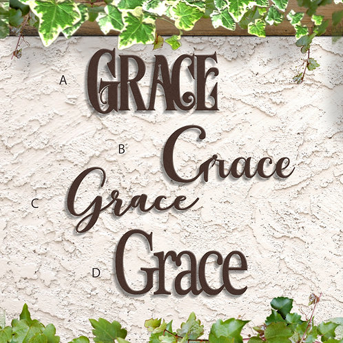 Grace Script Sign, Grace Metal Word