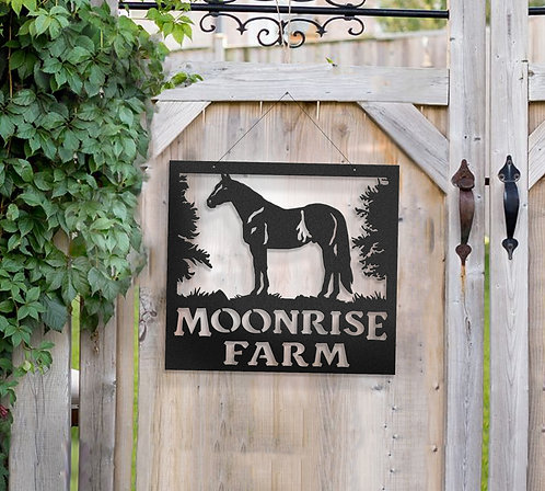 Quarter Horse Metal Farm Sign