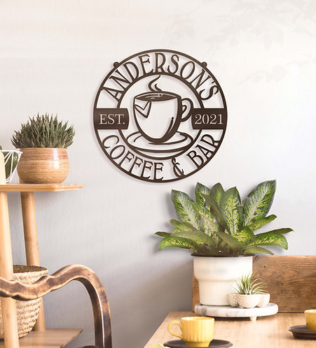 Personalized Metal Coffee Sign ~ Your Name Coffee Bar