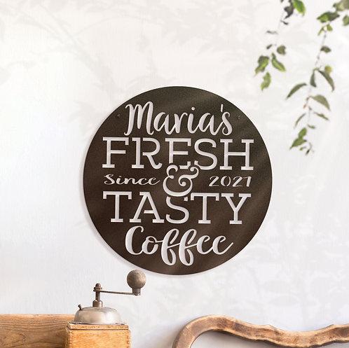 Custom Fresh Coffee Sign, Personalized Coffee Station Decoration