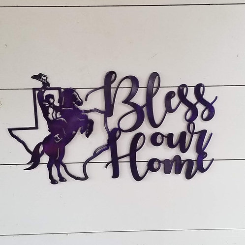 Tarleton State University Bless our Home Metal sign with Texan Rider
