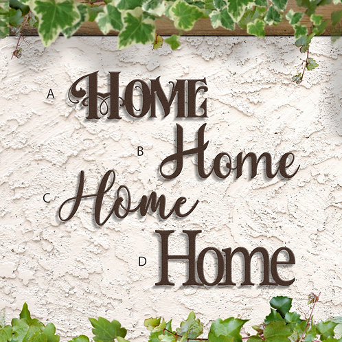 Home Script Sign, Indoor or Outdoor Metal Home Decoration