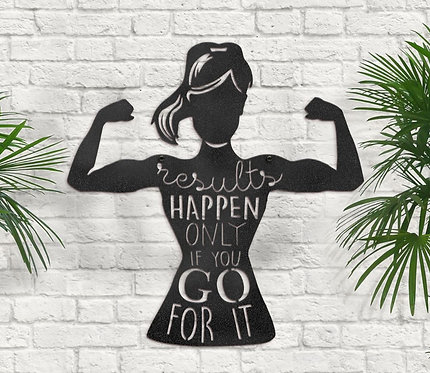 Women's Fitness Sign, Home Gym Metal Sign
