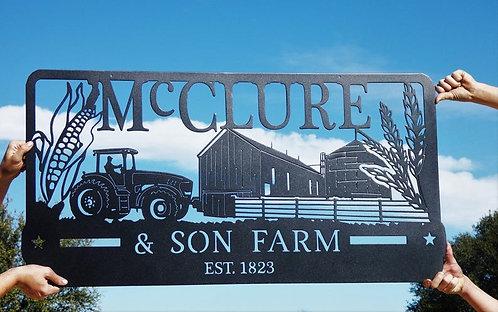 Custom Farm Sign with Corn and Wheat