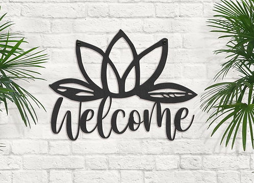 Metal Welcome Lotus Sign, Yoga Fitness Center Wall Art