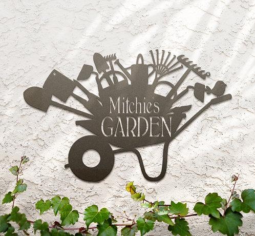 Custom Wheelbarrow Garden Sign