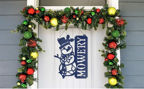 Snowman Metal Sign Personalized Holiday Decor