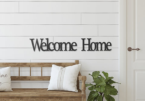 Welcome Home Metal Script Word Sign