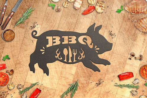 Metal BBQ Pig Sign, Outdoor Grill Decoration