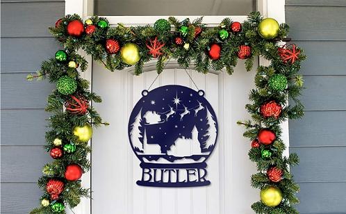Metal Snow Globe Personalized Santa's Reindeer Door Hanger Sign