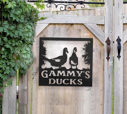 Duck Metal Farm Sign