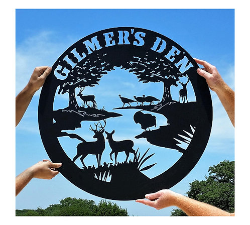 Rio River Sign with Wildlife LMW-16-30, Wildlife Metal Art