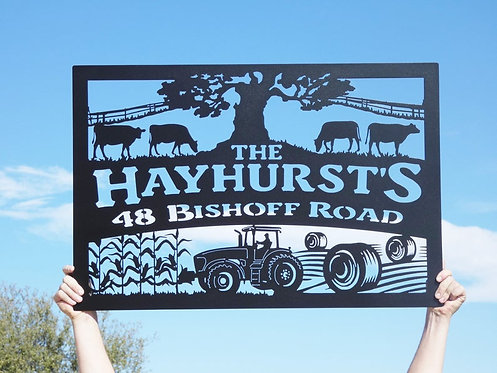 Custom Farm or Name Sign with a tree, cows, tractor and corn