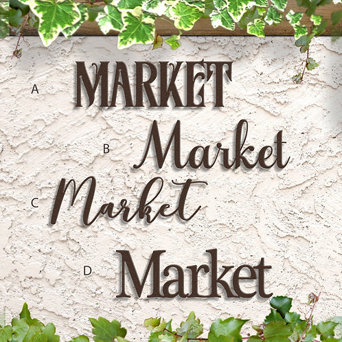 Market Metal Script Sign, Market Decorations