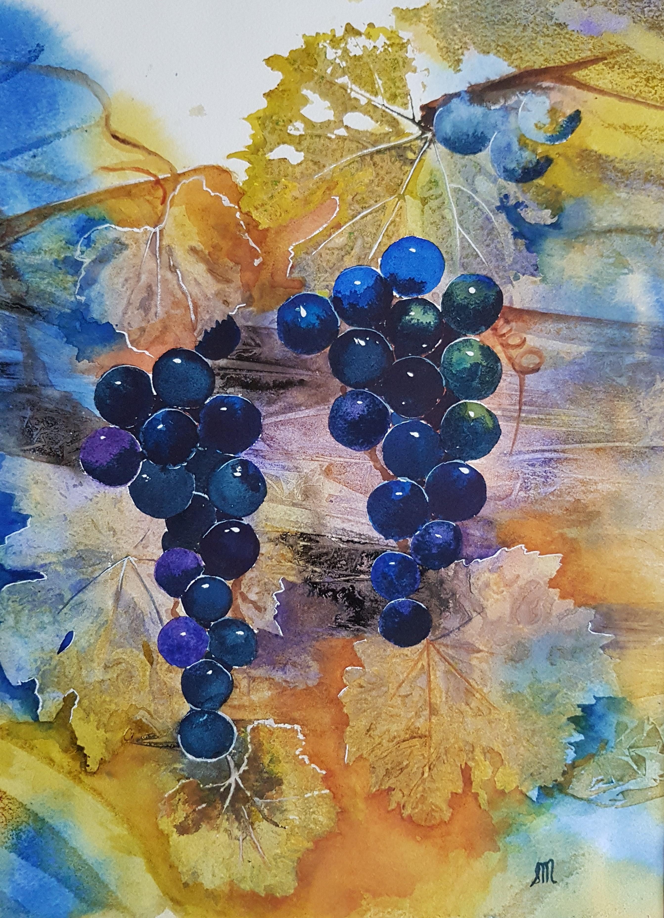 Vineyard Black Grapes-Mix Media
