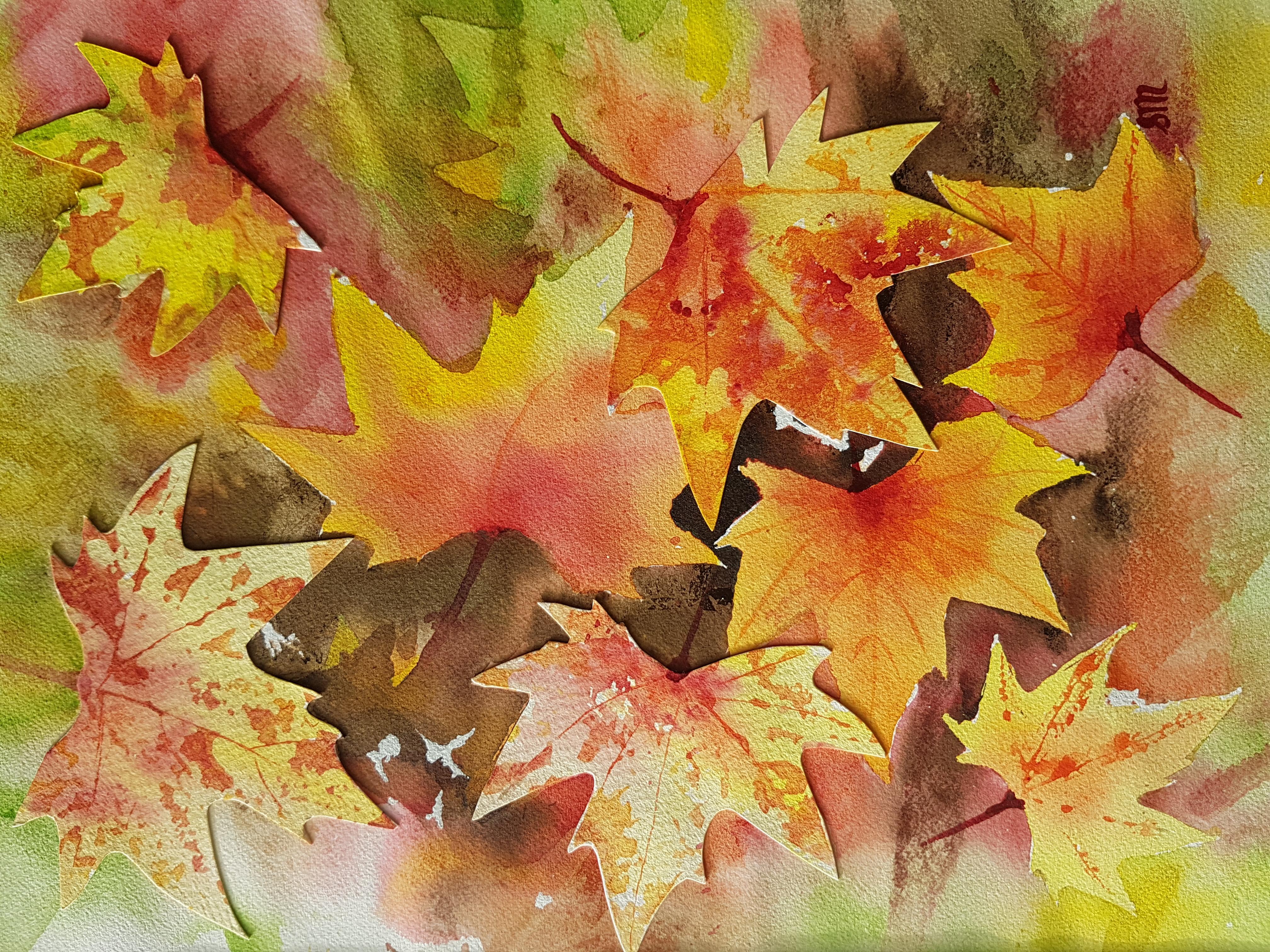 Fallen Autumn Leaves-Mix Media
