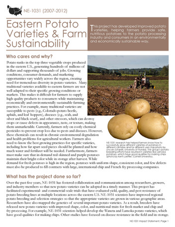 Eastern Potato Varieties (NE-1031 | 2007-2012)