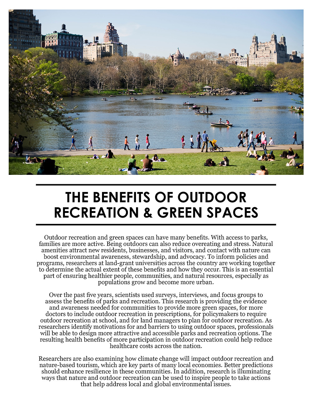 Benefit of Outdoor Recreation and Green Spaces. Click to view/download a PDF of the Impact Statement.