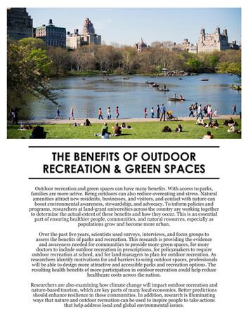Benefits of Outdoor Recreation & Green Spaces (NE-1962   2012-2017)